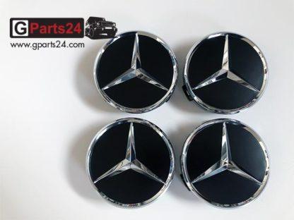 Original Mercedes Nabendeckel Schwarz matt mit Chromstern A2204000125 9283